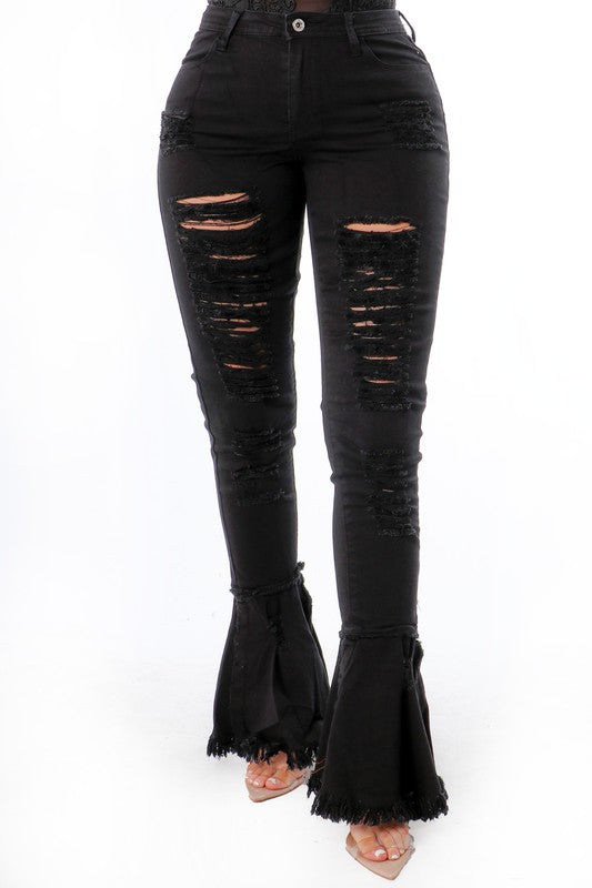 """Hot Stuff"" Distress Jeans - Mint Leafe Boutique"