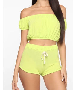 """Beach Babe"" Lime Short Set - Mint Leafe Boutique"