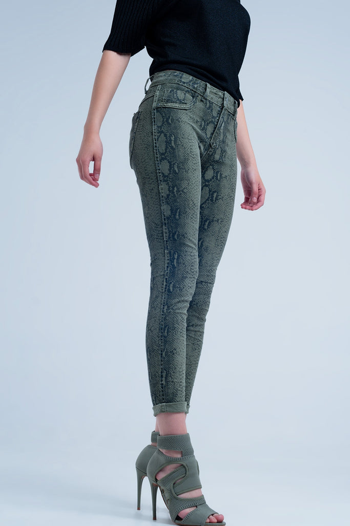 Green Reversible Animal Print Jeans - Mint Leafe Boutique