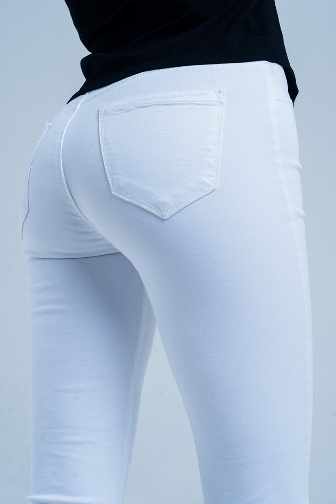 """Chrissy"" White Jeggings w/Pocket - Mint Leafe Boutique"
