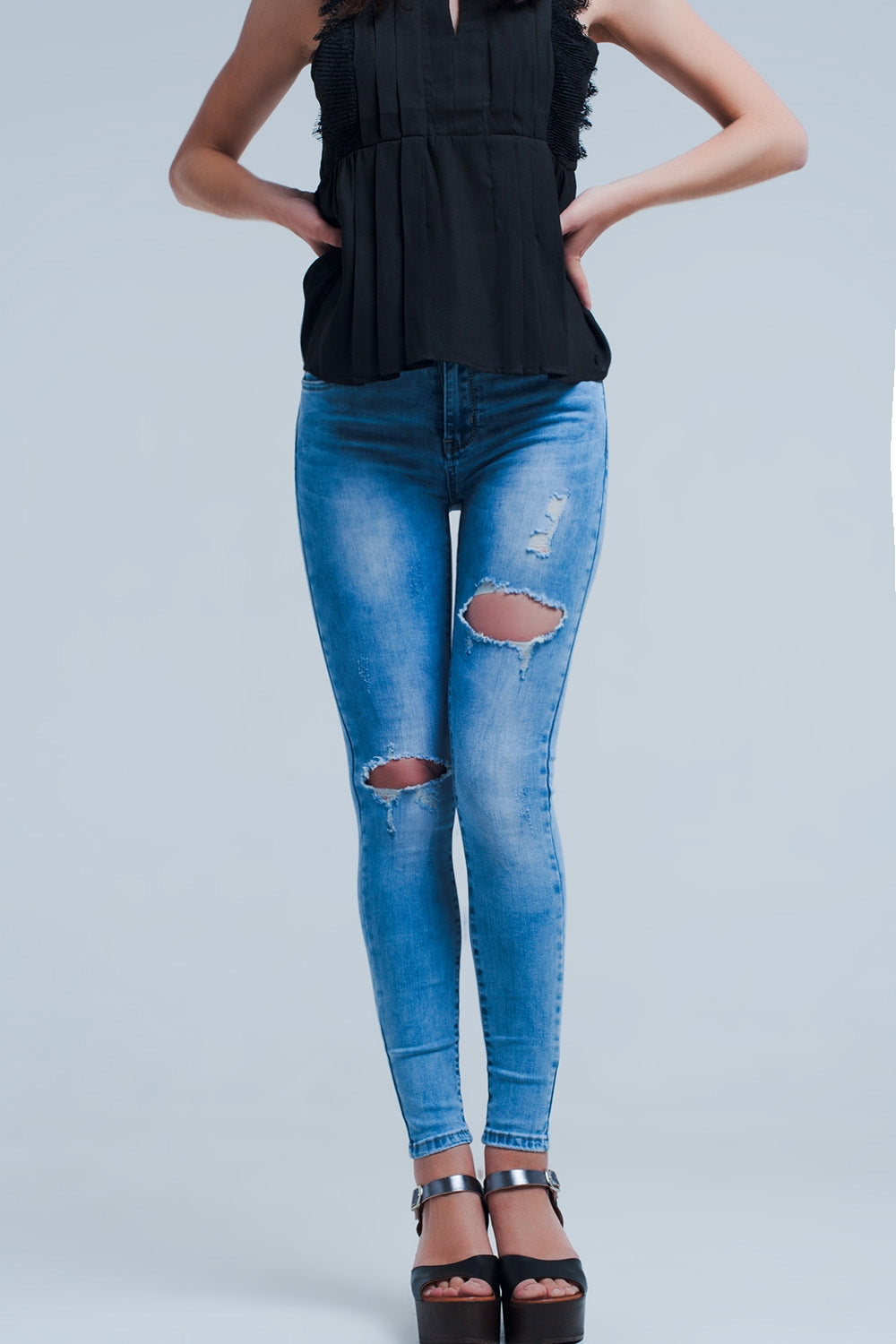 """Tayler"" Distressed Skinny Jeans - Mint Leafe Boutique"