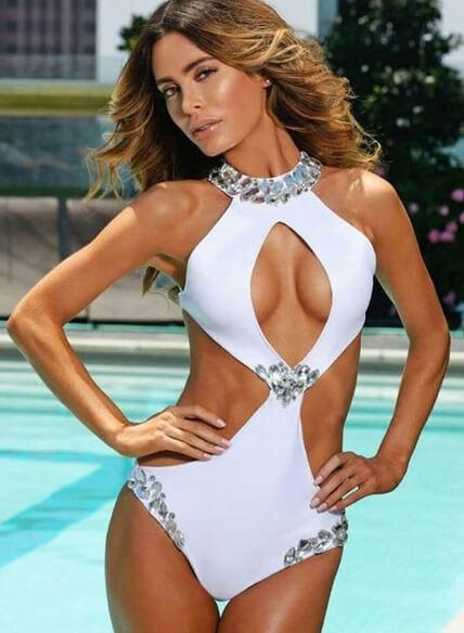 Malibu Rhinestone One Piece - White - Mint Leafe Boutique