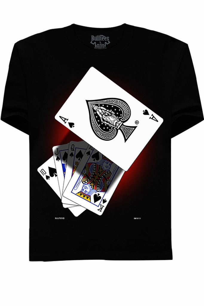 Royal Flush Black Cotton Tee - Mint Leafe Boutique