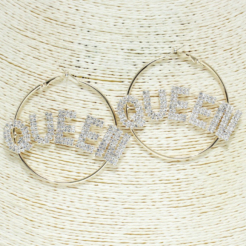 """QUEEN"" Mini Hoop Earrings - Mint Leafe Boutique"