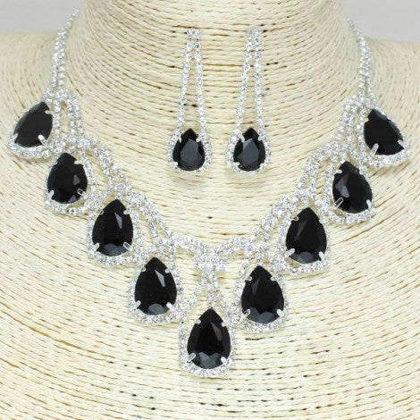 """ICY BLACK"" Crystal Necklace Set - Mint Leafe Boutique"