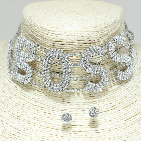"""BOSS"" Choker Necklace *SILVER* - Mint Leafe Boutique"