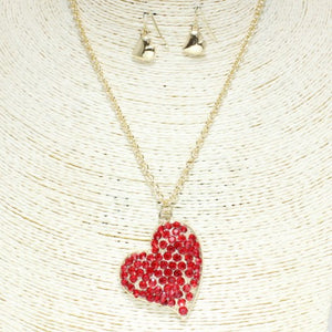 """My Heart"" Necklace & Earrings - Mint Leafe Boutique"
