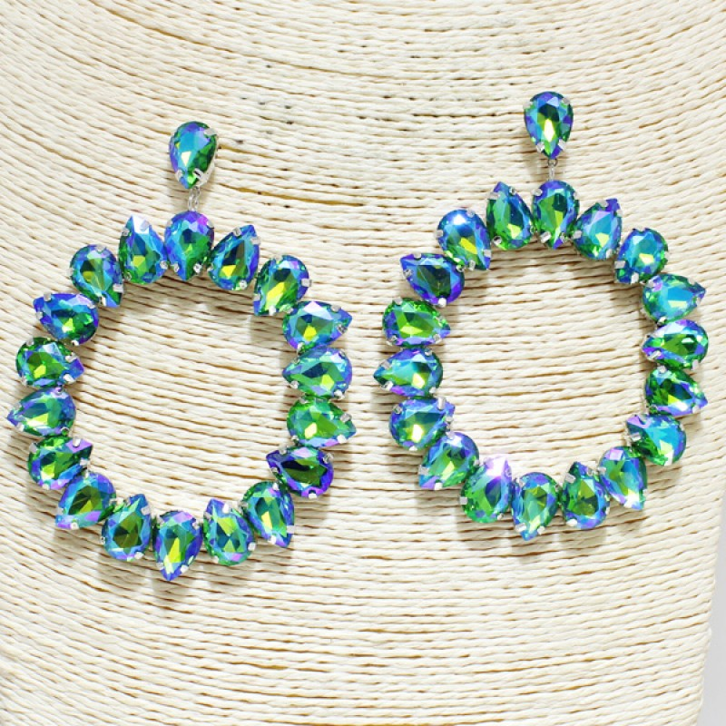 """Connie"" Luxury Rhinestone Earrings - Mint Leafe Boutique"