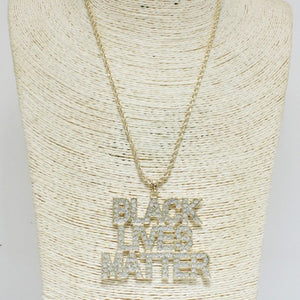 Black Lives Matter Bling Necklace - Mint Leafe Boutique