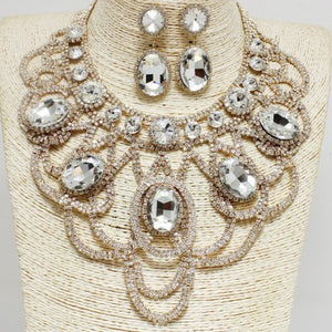 """Glam Official"" Rhinestone Necklace Set - Mint Leafe Boutique"