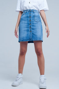 """Button Up""  Denim Skirt - Mint Leafe Boutique"