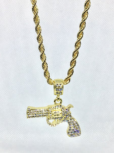 """The Gun"" Bling Necklace - Mint Leafe Boutique"