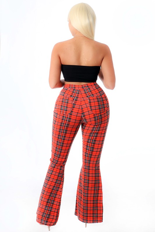 """South"" Plaid Flare Pants - Mint Leafe Boutique"