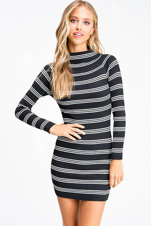 Stripe Long Sleeve Dress - Mint Leafe Boutique