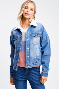 Denim Fleece Jean Jacket - Mint Leafe Boutique