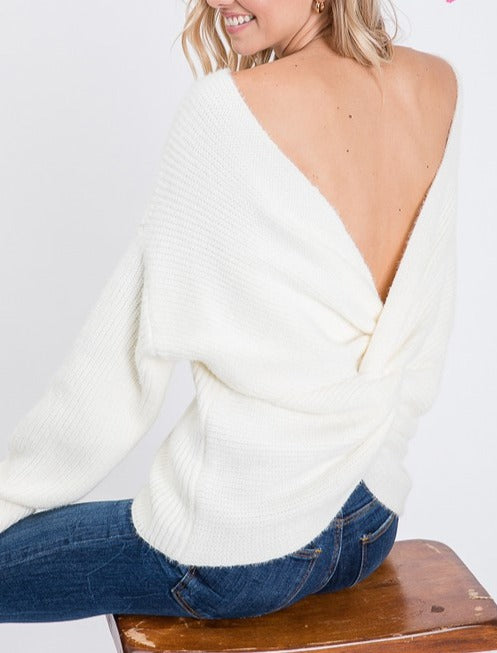 Front Back Open Twist Sweater - Mint Leafe Boutique