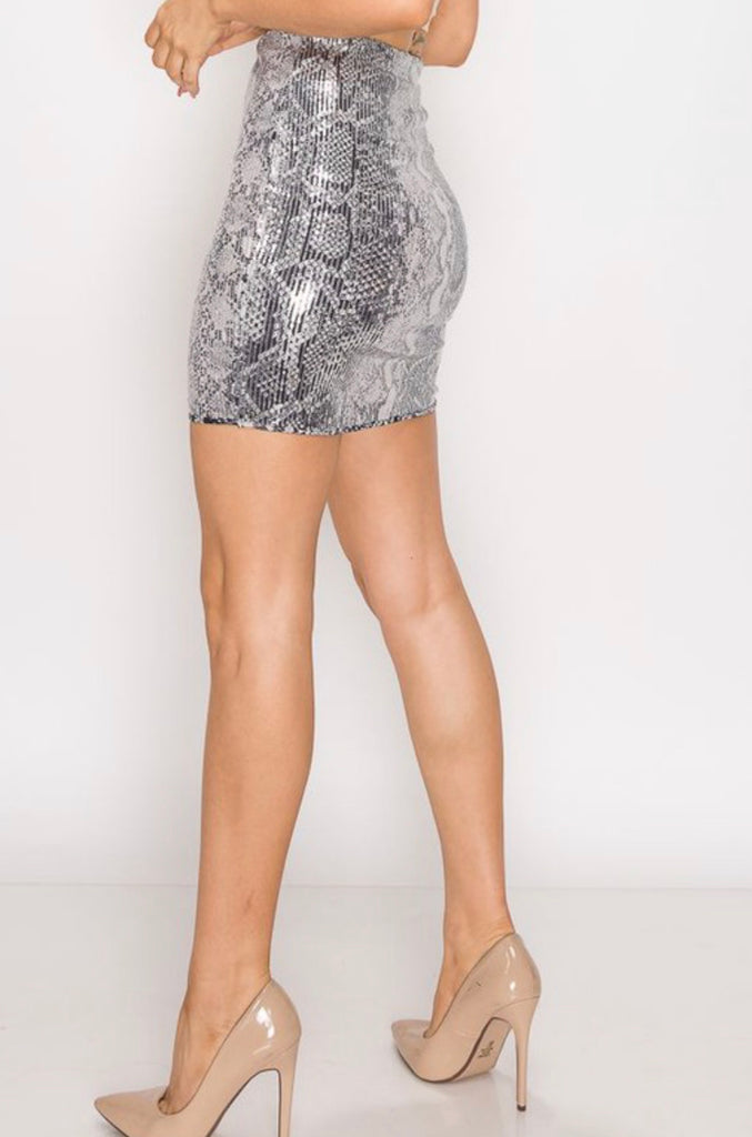 Glitter Snake Mini Skirt - Mint Leafe Boutique
