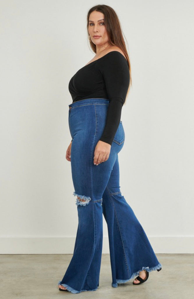 """BELLA"" Plus Distress Bell Bottoms - Mint Leafe Boutique"