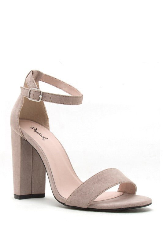 Taupe Chunk Heel - Mint Leafe Boutique
