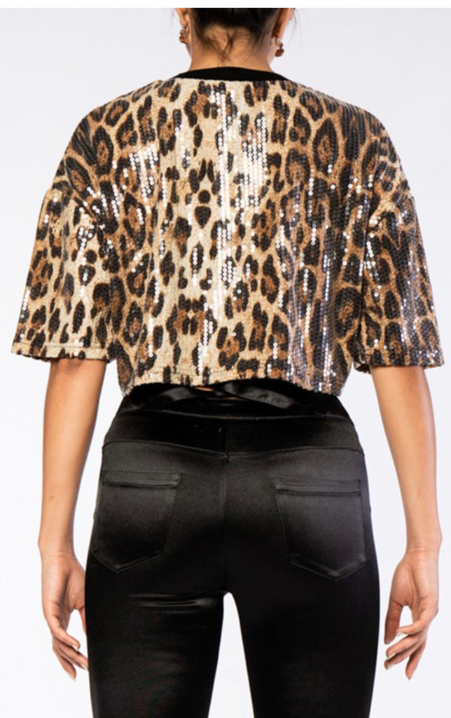 Leopard Sequins Top - Mint Leafe Boutique