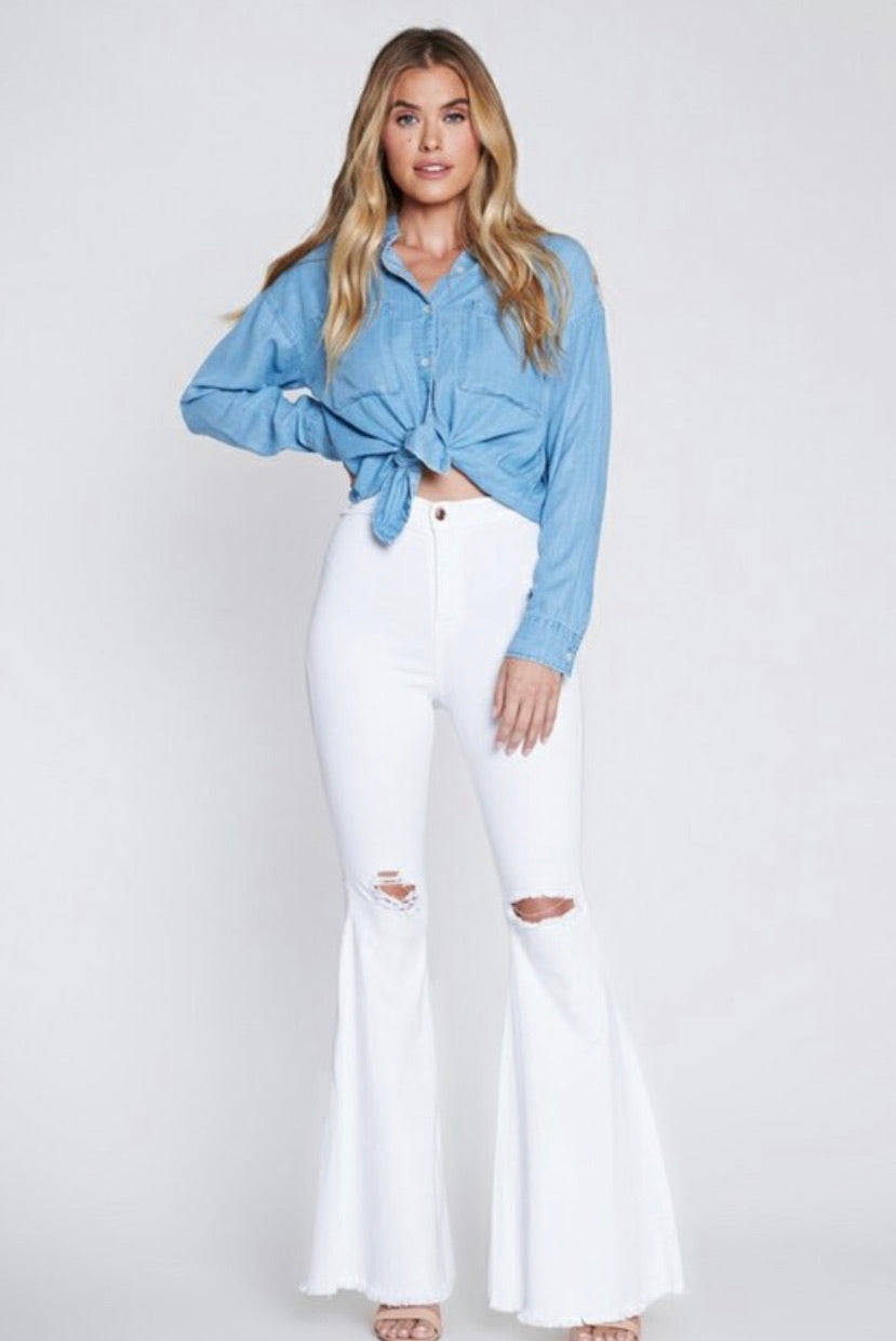 White High Rise Bell Bottoms - Mint Leafe Boutique
