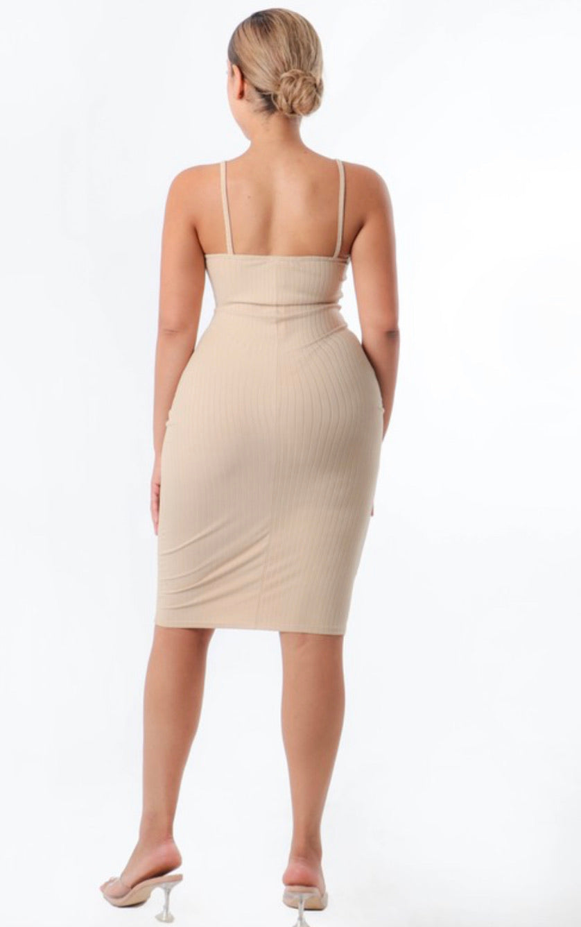 Beige Bodycon Dress - Mint Leafe Boutique
