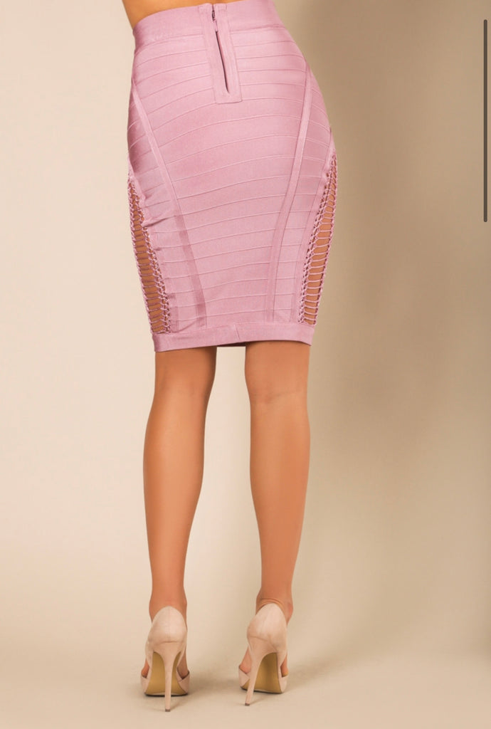 """Crystal White"" Bandage Skirt - Mint Leafe Boutique"