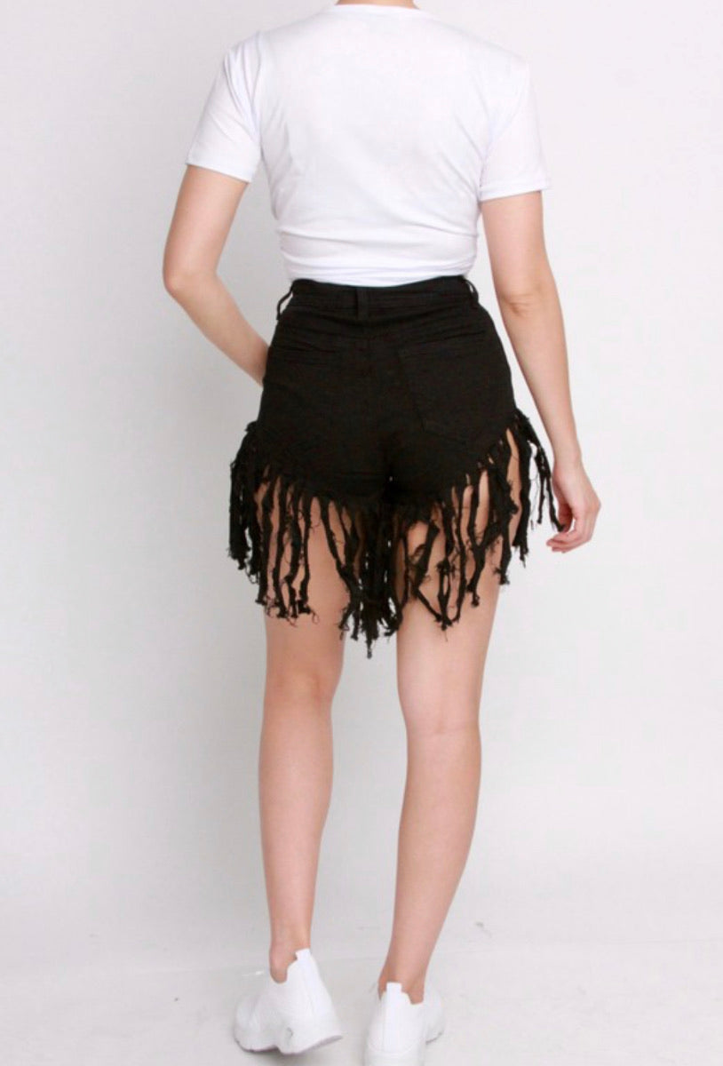 Black Fringe Shorts - Mint Leafe Boutique