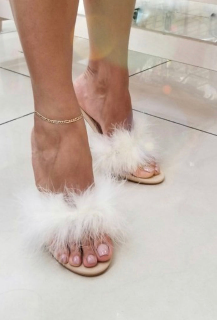 """Miycah"" Feather Clear Slide - in Heel - Mint Leafe Boutique"