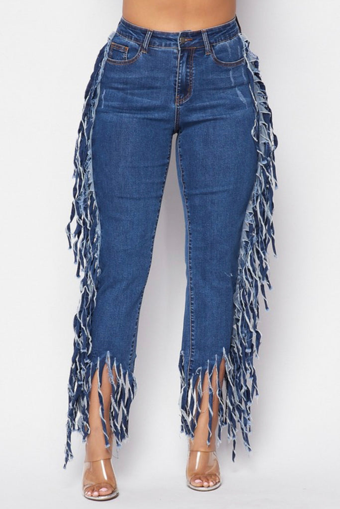 """IM HIP"" Denim Fringe Jeans - Mint Leafe Boutique"