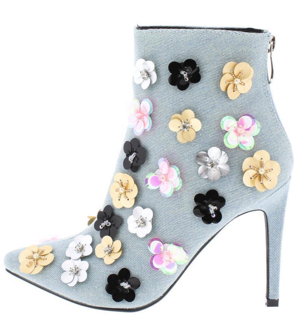 Denim Pointed Toe Flower Ankle Boot - Mint Leafe Boutique