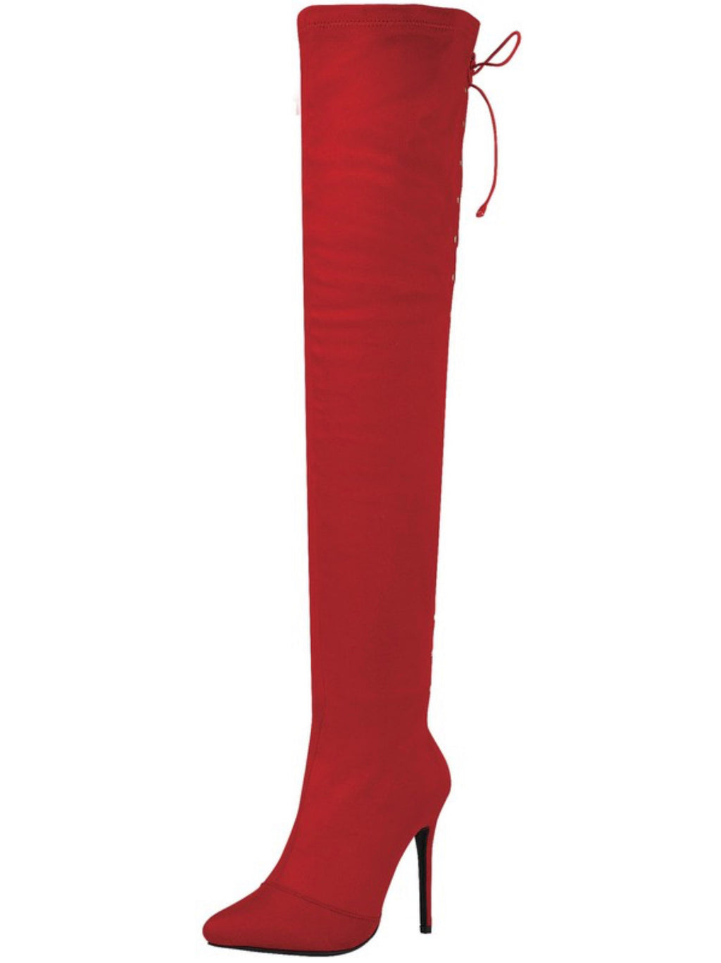 """Ariana"" Red High Thigh Lace Up Boot - Mint Leafe Boutique"