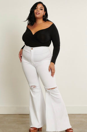 Curvy White Bell Bottom - Mint Leafe Boutique