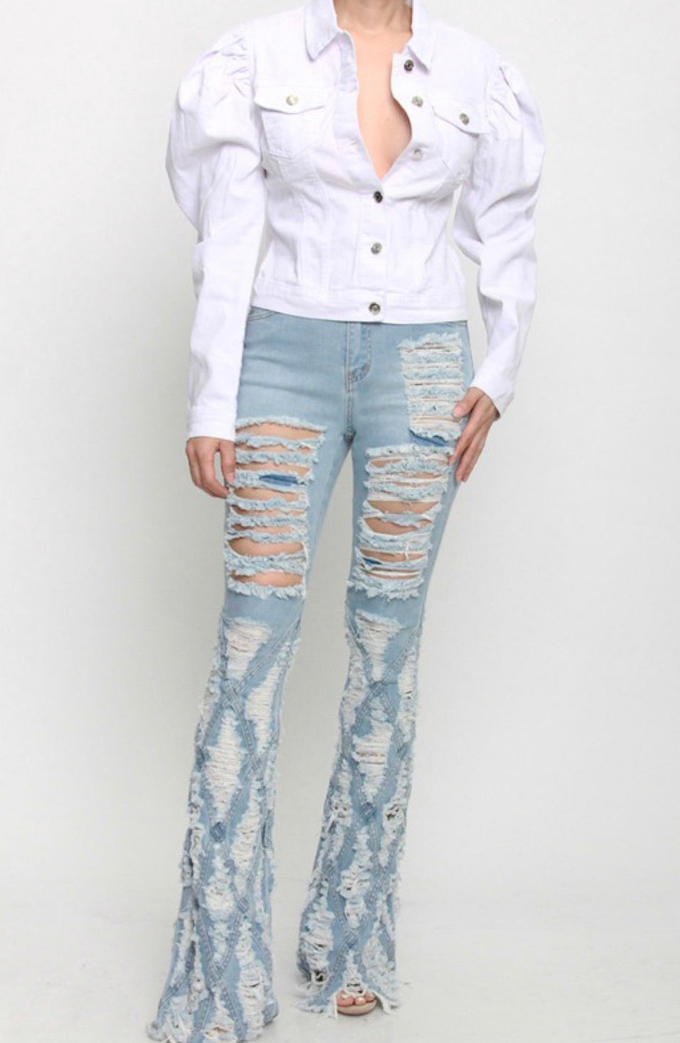 """I RUN S***"" Distress Jeans - Mint Leafe Boutique"