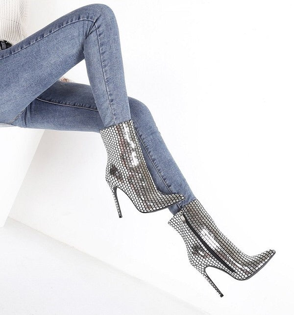 Runway Me Silver Bootie - Mint Leafe Boutique
