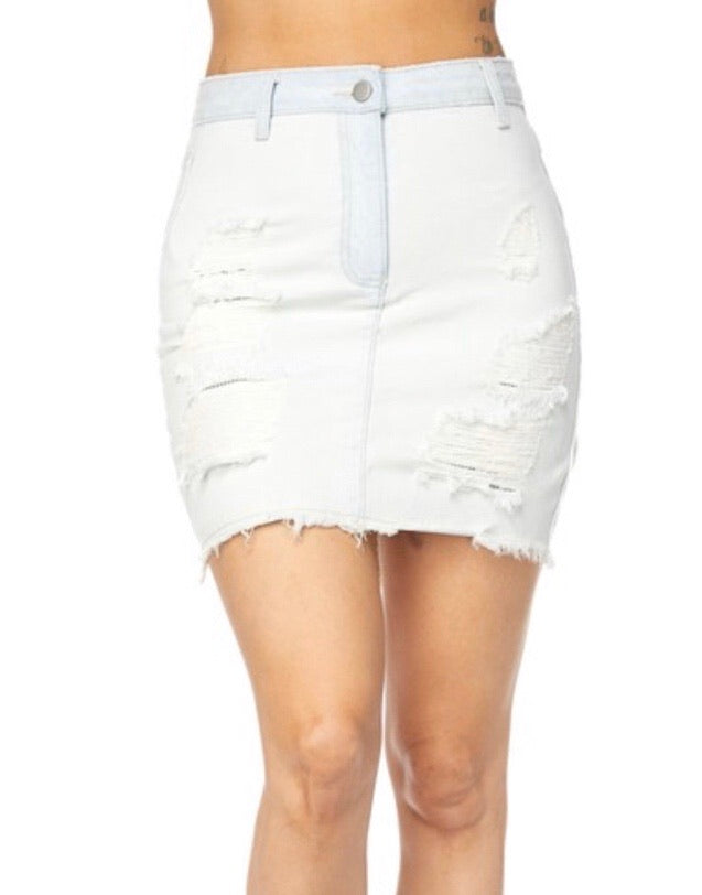 Light Denim Skirt - Mint Leafe Boutique