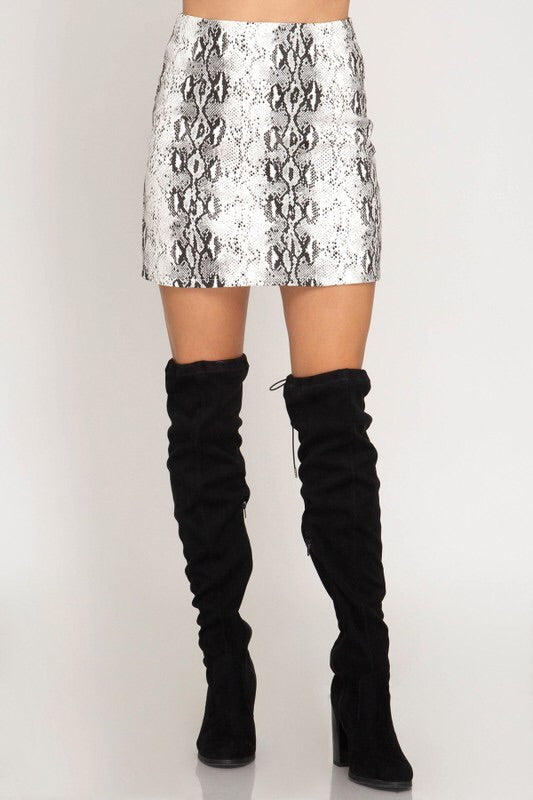 Off White Snake Skin Skirt - Mint Leafe Boutique