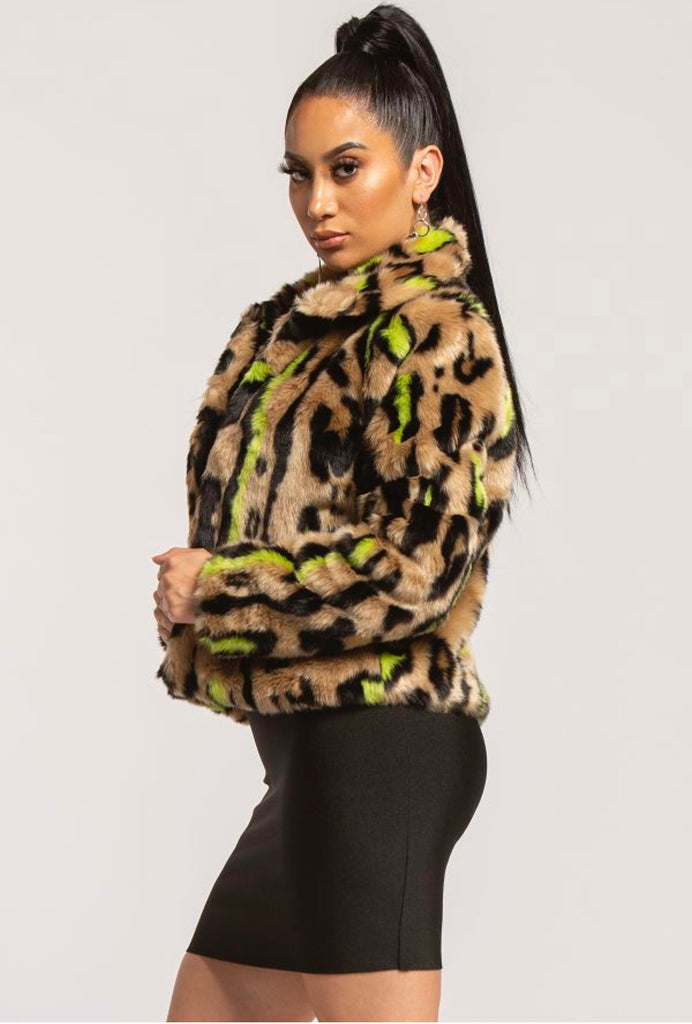 """Foxy Neon"" Fur Coat - Mint Leafe Boutique"