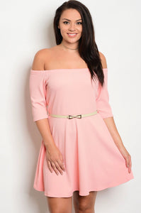 Pink Dress with Belt - Mint Leafe Boutique