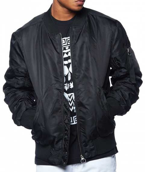 Men's Black Bomber Jacket - Mint Leafe Boutique