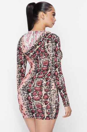 """PINKY"" Snake Print Dress - Mint Leafe Boutique"