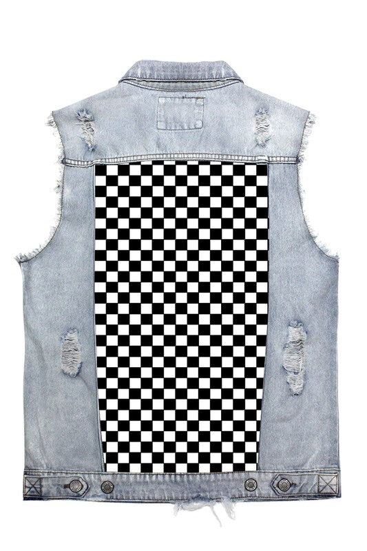 Men's Denim Checker Vest - Mint Leafe Boutique