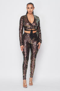 """Party Life"" Sequins Pants Set"