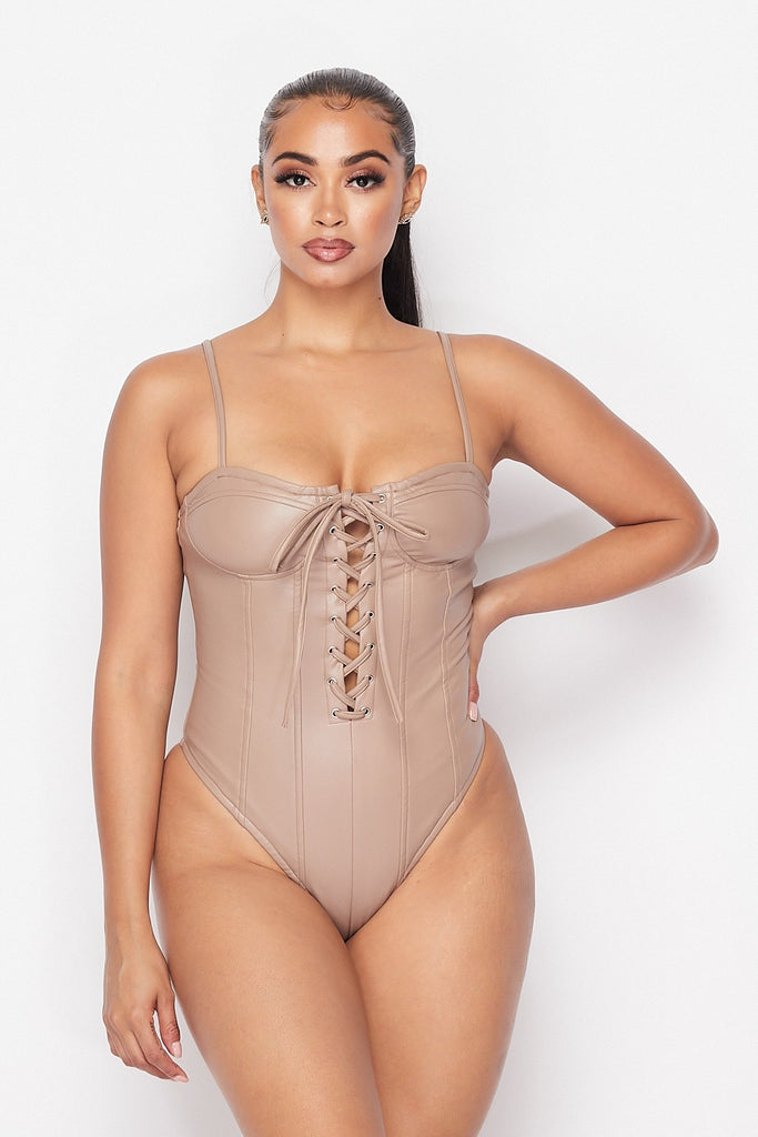 """Leather Me"" Tie Up Bodysuit - Mint Leafe Boutique"