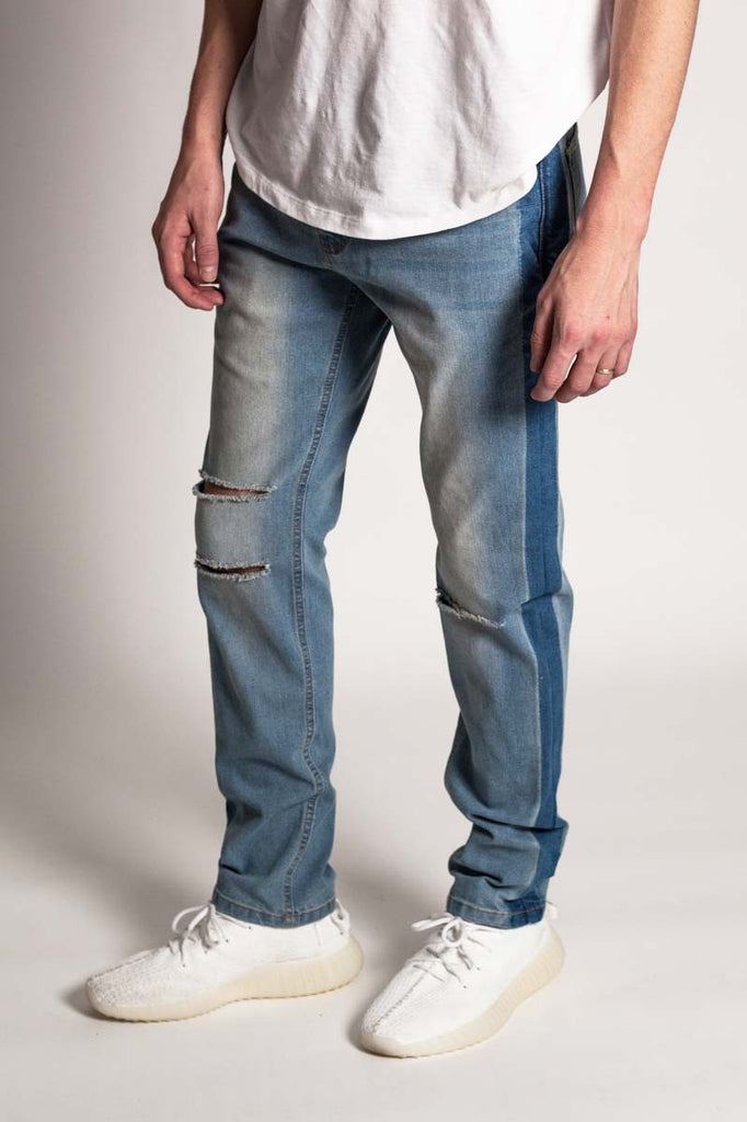 Men Frayed and Destroyed Slim  Jeans - Mint Leafe Boutique