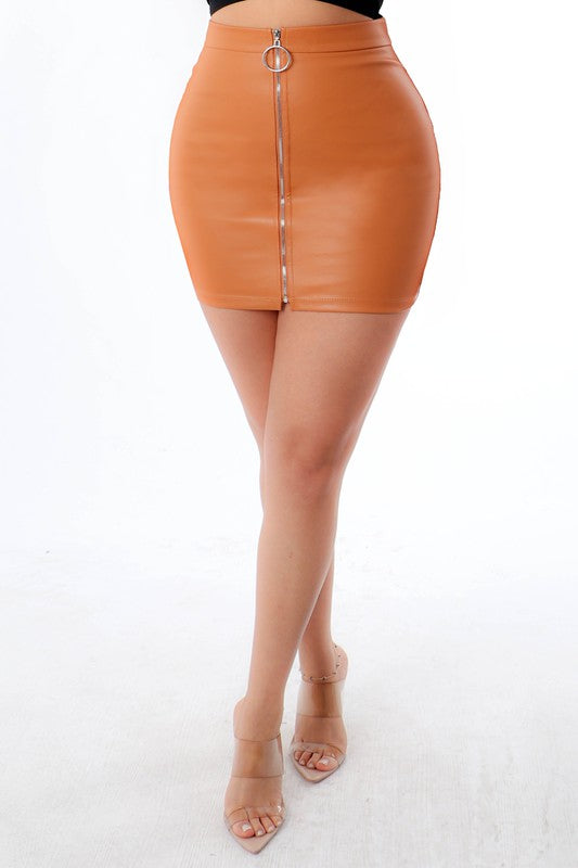 """TISH"" Leather Zip Up Skirt - Mint Leafe Boutique"
