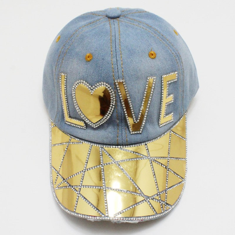 "Denim ""LOVE"" Hat - Mint Leafe Boutique"