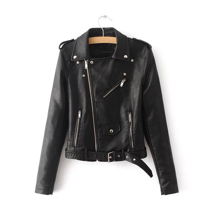 Faux Leather Motorcycle Jacket - Mint Leafe Boutique