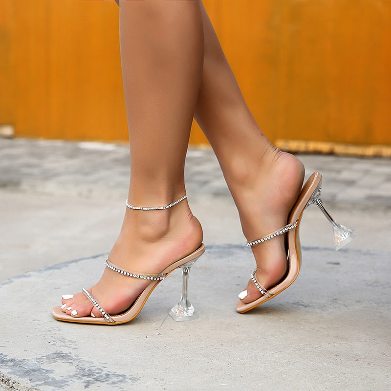 """Lina"" Rhinestone Clear Sandal Heel - Mint Leafe Boutique"