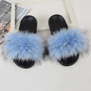 """SKY"" Faux Fur Slides - Mint Leafe Boutique"